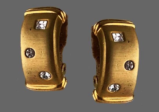 Art Deco gold tone crystal clip on earrings