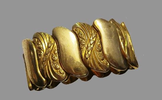 Art Deco gold tone expansion wide bracelet