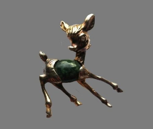 Bambi brooch. Sterling silver, jade, gold plated