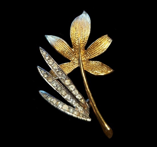 Bamboo Flower Pin. Gold tone metal alloy, rhinestones. 1960s PIM