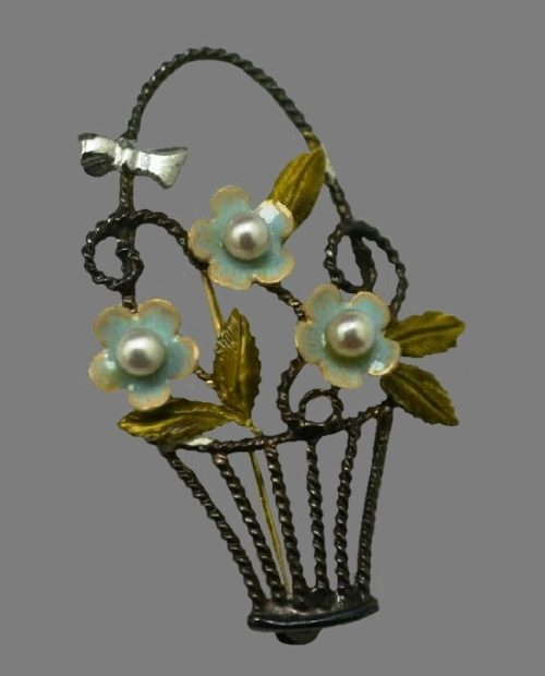 Basket of flowers brooch. 925 Sterling silver, blue enamel, cultured pearl