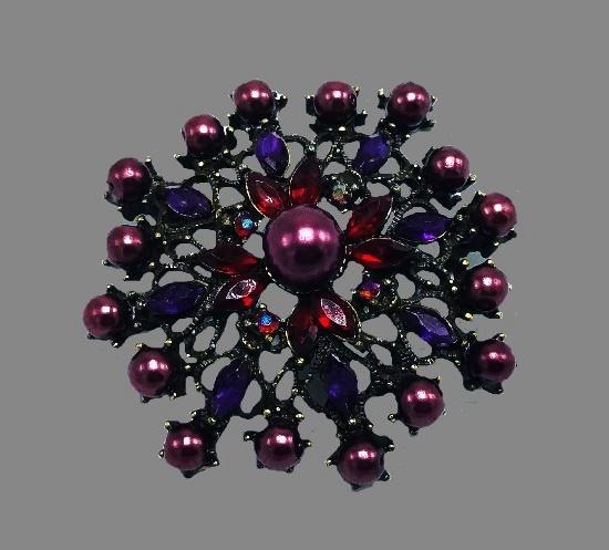Beautiful flower brooch. Faux black pearls, purple rhinestones