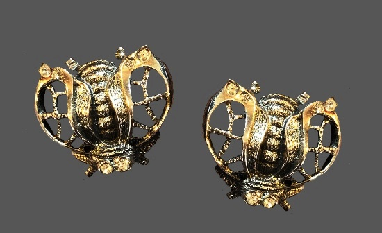 Bee clip-on earrings. Silver and gold tone alloy, rhinestones