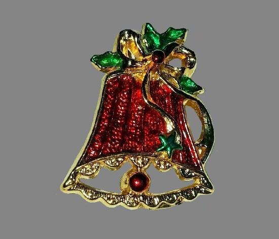 Bell Christmas theme brooch. Gold tone, enamel, rhinestones