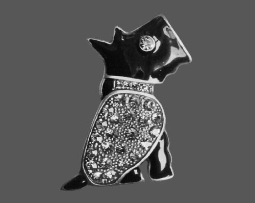 Black Scottie pin. Silver tone metal, resin, rhinestones