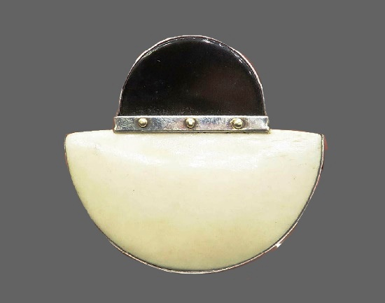 Black and white onyx modernist design brooch. Sterling silver