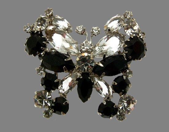 Black butterfly brooch. Metal alloy, crystals