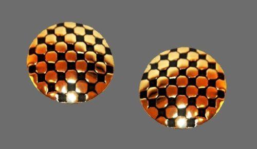 Black enamel gold geometric round earrings