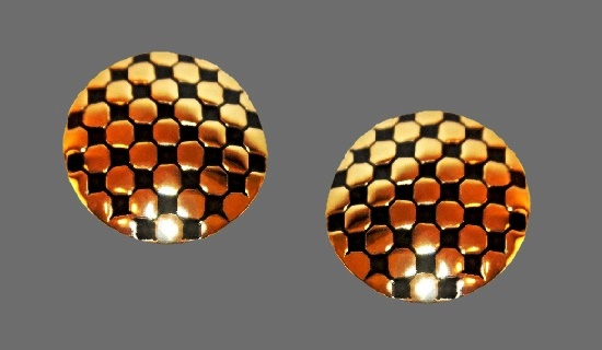 Black enamel gold geometric round earrings