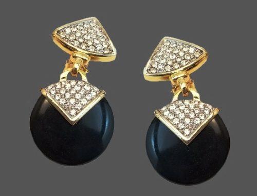 Black onyx rhinestones gold tone dangle earrings