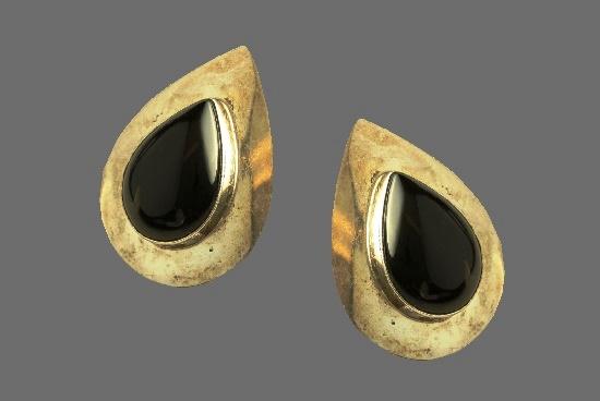 Black onyx sterling silver teardrop shaped pierced earrings