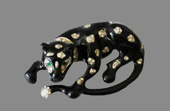 Black panther enameled rhinestone brooch. 1980s