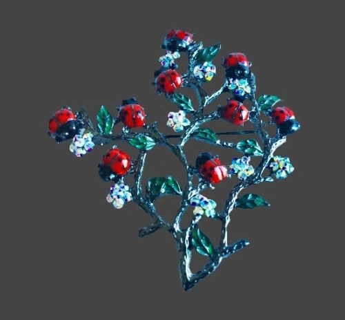Blooming tree with ladybugs brooch. Silver tone alloy, rhinestones, resin