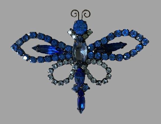 Blue Dragonfly brooch. Metal alloy, Swarovski crystals