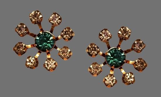 Blue and clear rhinestone gold tone screw back earrings