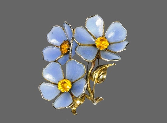 Blue flowers brooch. Art glass, yellow crystals, gold tone metal