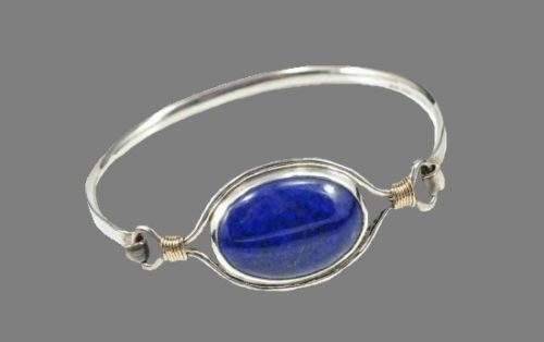 Blue lapis sterling silver cuff bracelet