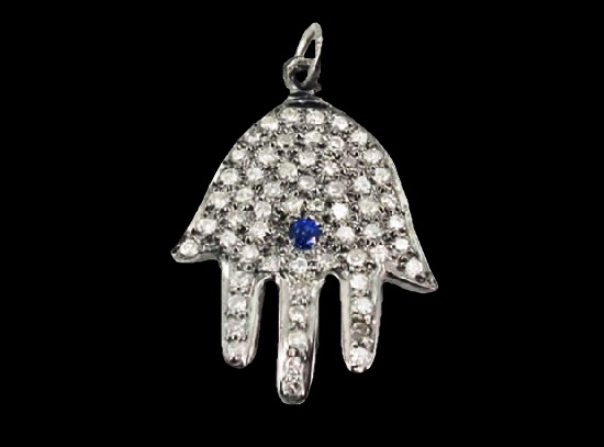 Blue sapphire diamond pave 925 sterling silver pendant