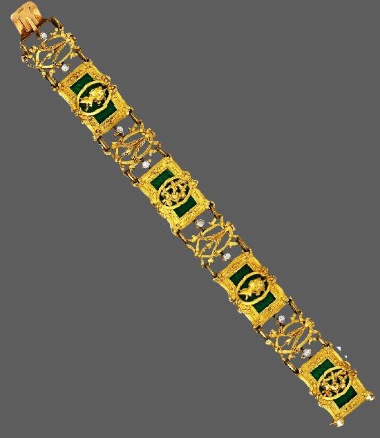 Bracelet. 18 K gold, platinum, diamond, enamel. Circa 1900