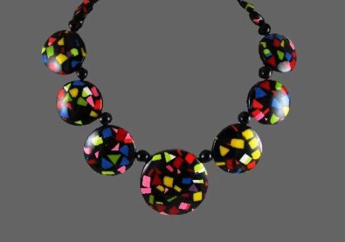 Bright confetti resin necklace