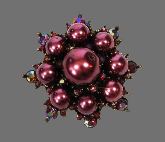 Bronze Tone Faux Pearl Rhinestone Round Star Pin Brooch