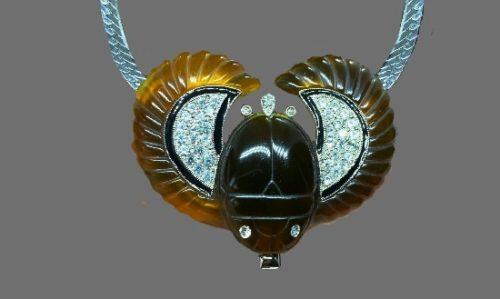 Brown Lucite Rhinestone enamel necklace