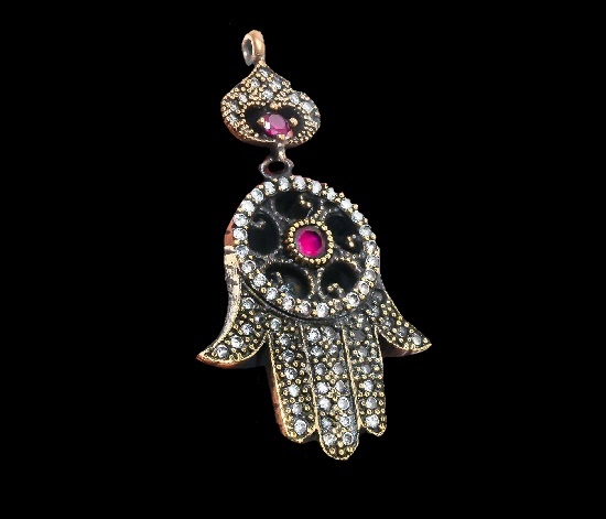 Burmese hand cradted pendant. 925 sterling silver, Ruby, White Topaz, crystals
