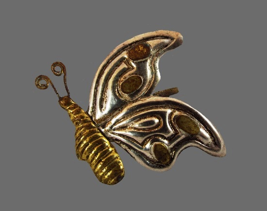 Butterfly brooch. 925 sterling silver, brass, plastic