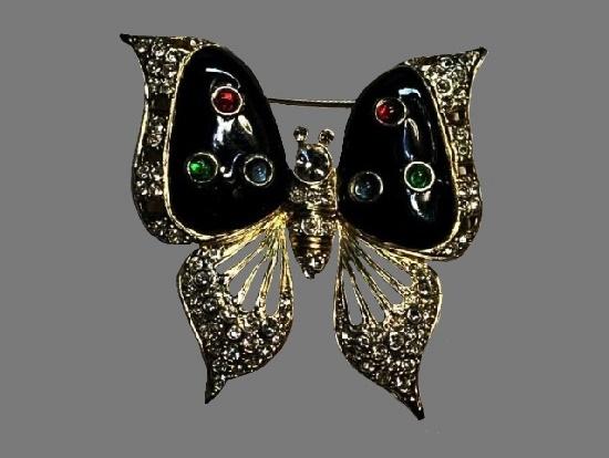 Butterfly brooch. Black enamel, rhinestones, gold tone