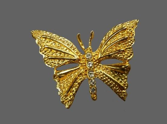 Butterfly brooch. Gold tone, rhinestones