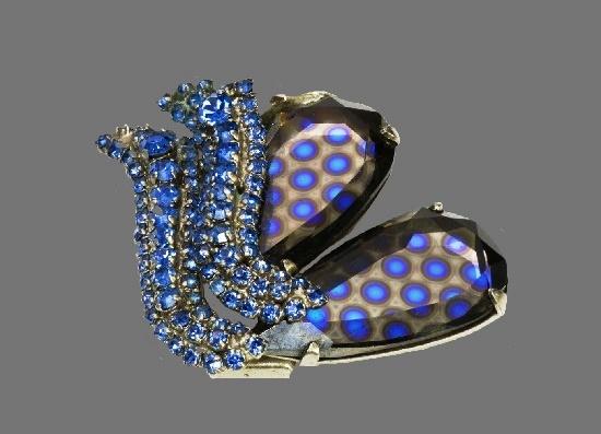 Butterfly brooch. Rhodium plated, blue crystal, art glass