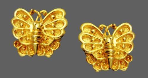 Butterfly gold tone clip on earrings