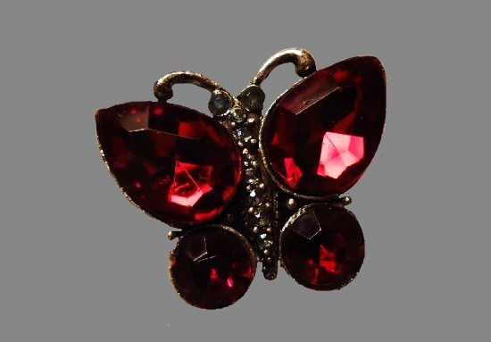 Butterfly pin. Ruby red rhinestones, gold tone metal