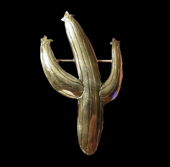 Cactus sterling silver brooch