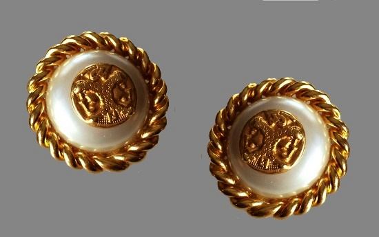 Caesar head medallion faux pearl round shaped gold tone earrings