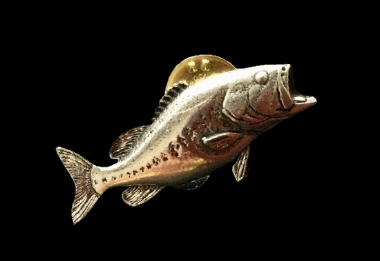 Carp Brooch. jewelry alloy, textured metal, tin, hypoallergenic metal. 1970s