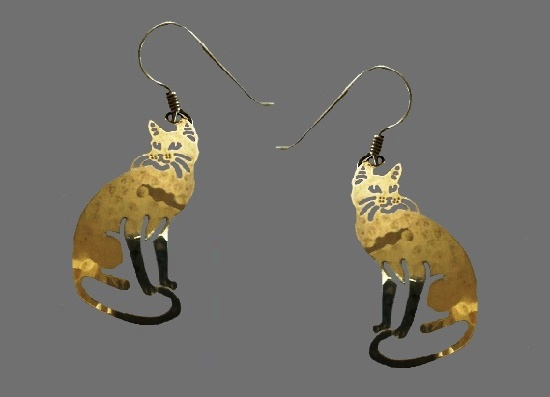Cat Gold plated earrings