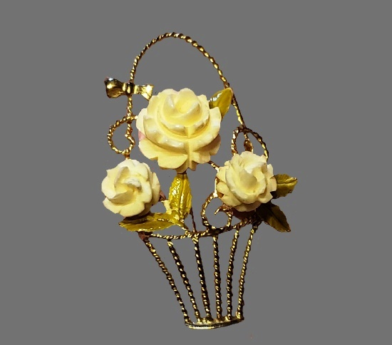 Celluloid Rose Flower Basket With Green Enamel Leaves Brooch