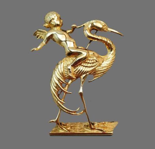 Cherub Angel Stork gold tone brooch