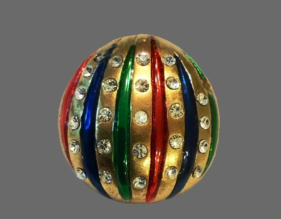 Christmas Ornament Brooch. Gold tone metal, red, blue and green stripes, clear rhinestones
