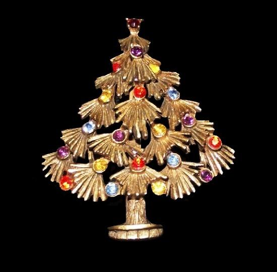 Christmas Tree Brooch. Gold tone, rhinestones
