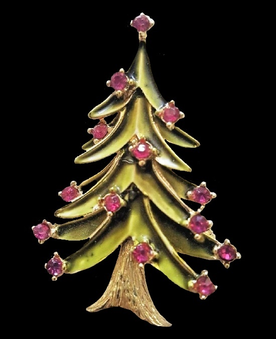 Christmas tree broooch. Gold tone metal alloy, enamel, pink rhinestones
