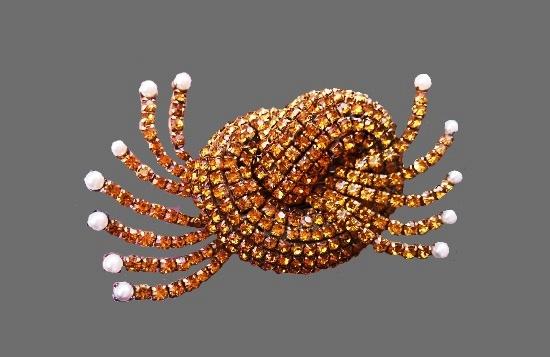 Citrine color crystals brooch fur clip. Faux pearls. 11 cm. 1950s