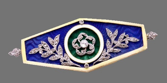 Cobalt blue enameled brooch. 18 K gold, diamonds, ivory, white, blue, green enamel