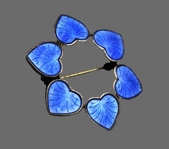 Cobalt blue heart wreath brooch. Sterling silver, enamel