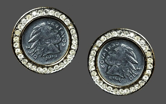 Coin design round clip on earrings. Silver and gold tone metal, rhinestones