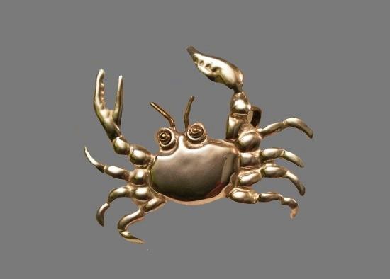 Crab brooch pendant. Sterling Silver, brass