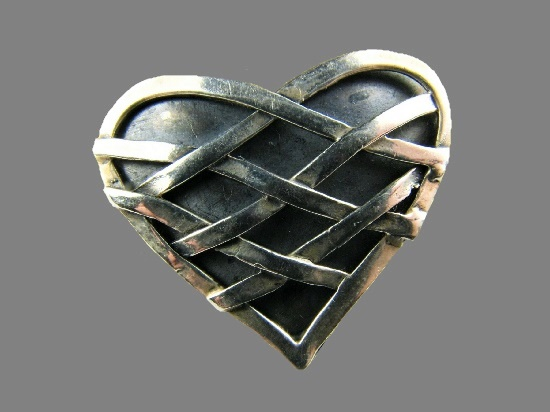 Criss Cross Heart Pin. Sterling Silver