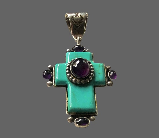 Cross pendant. Sterling silver, turquoise, amethyst. 1970s