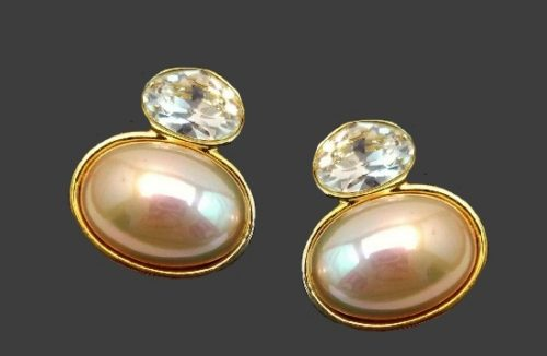 Crystal Faux Pearl gold tone clip on earrings